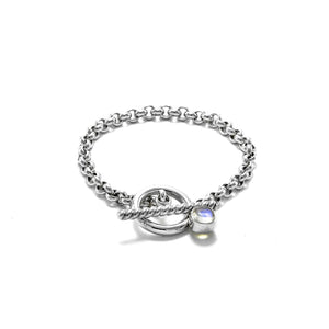 Rolo Chain Moonstone Bracelet with a Toggle clasp