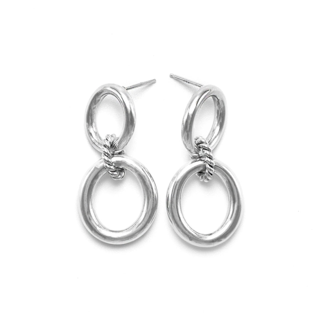 Chunky Sterling Silver Double Hoop Dangle Earrings ioola