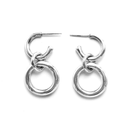 Lightweight Sterling Silver hollow double hoop earrings with dangle small