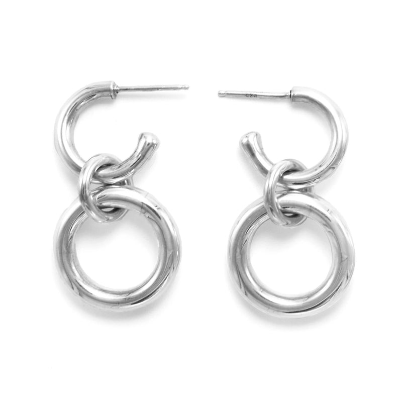 Lightweight Sterling Silver Hoop Earrings big ioola small // Silver