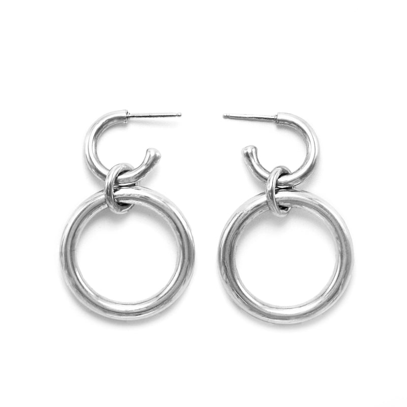 Lightweight Sterling Silver hollow double hoop earrings with dangle big // Silver