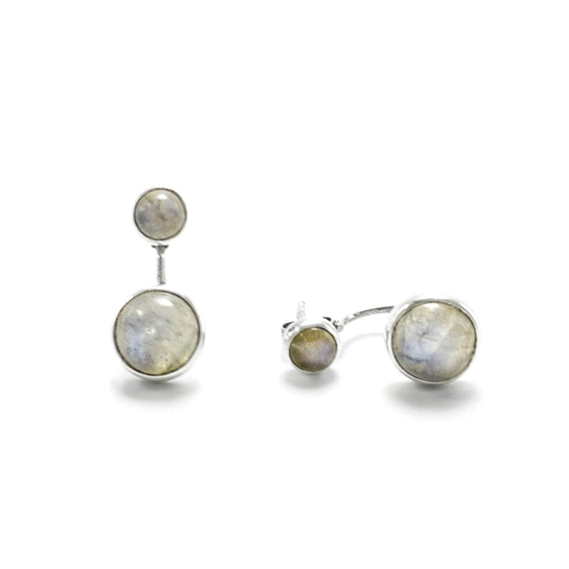 Sterling Silver Moonstone Double Earrings