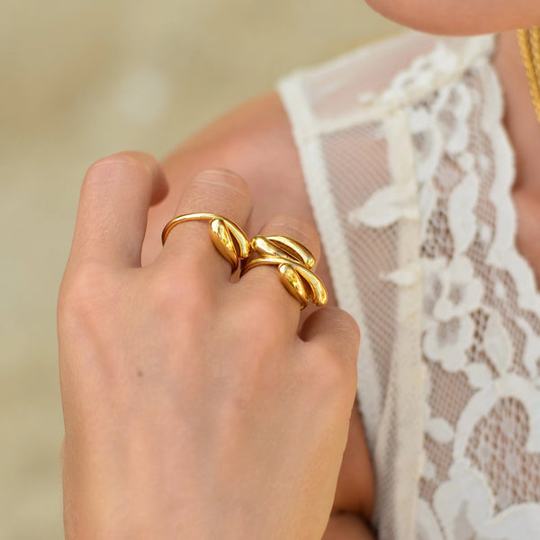 Adjustable Sterling Silver Drop Ring gold plated // Gold