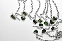 Load image into Gallery viewer, Sterling silver rolo chain necklace with raw moldavite with toggle clasp ioola