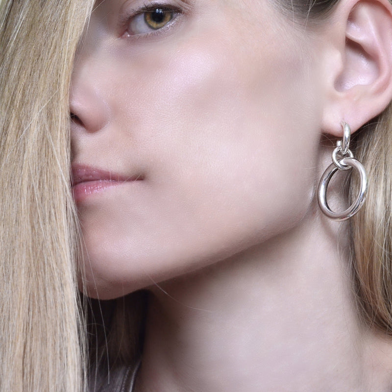 Lightweight hollow double hoops in sterling silver // Silver
