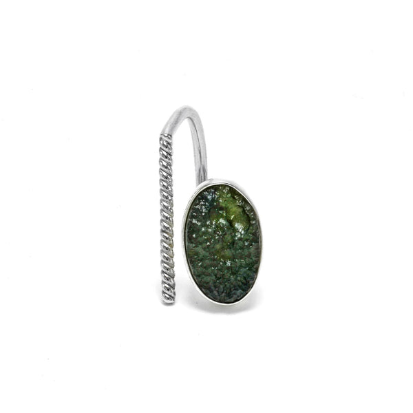 Adjustable Sterling Silver Moldavite Ring