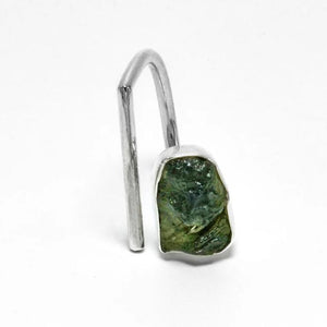 Adjustable open raw moldavite ring size 7