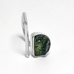 Adjustable open raw moldavite ring size 6