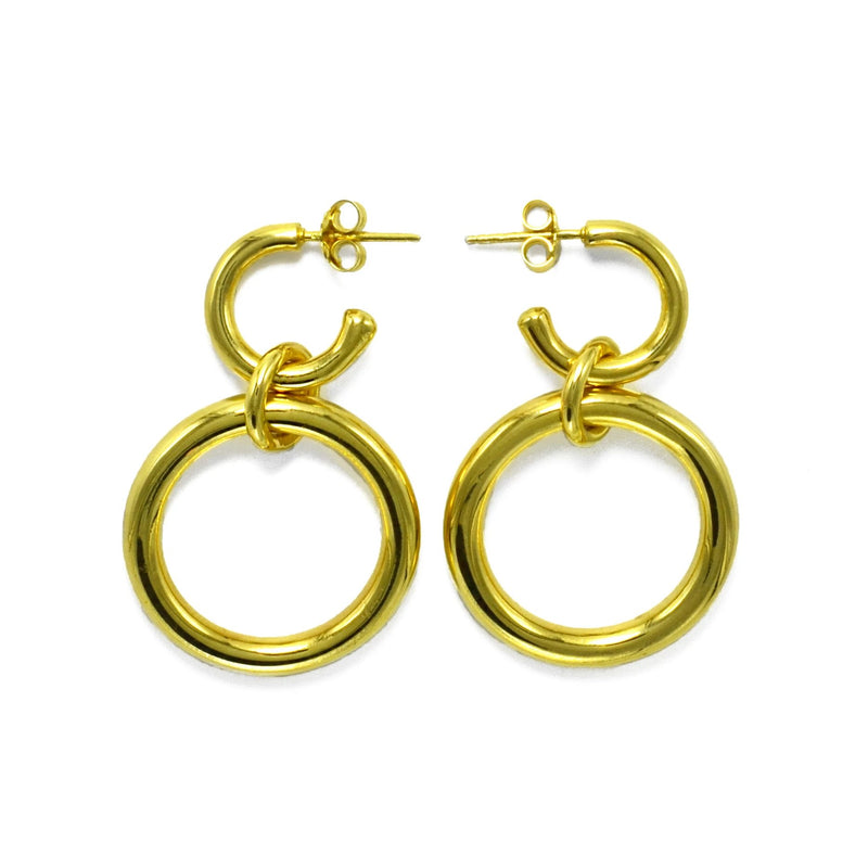 Lightweight Sterling Silver gold plated hollow double hoop earrings with dangle big // Gold
