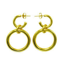 Load image into Gallery viewer, Lightweight Sterling Silver gold plated hollow double hoop earrings with dangle big