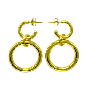Lightweight Sterling Silver gold plated hollow double hoop earrings with dangle big