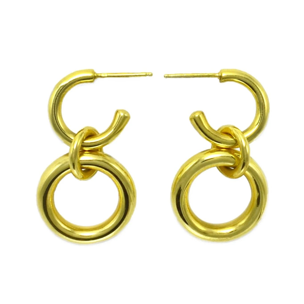 Lightweight Sterling Silver gold plated hollow double hoop earrings with dangle small
