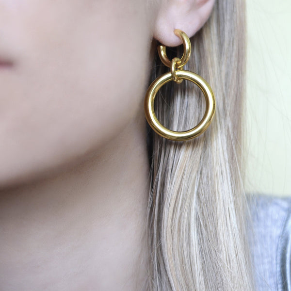 Lightweight Sterling Silver gold plated Hoop Earrings big ioola big // Gold