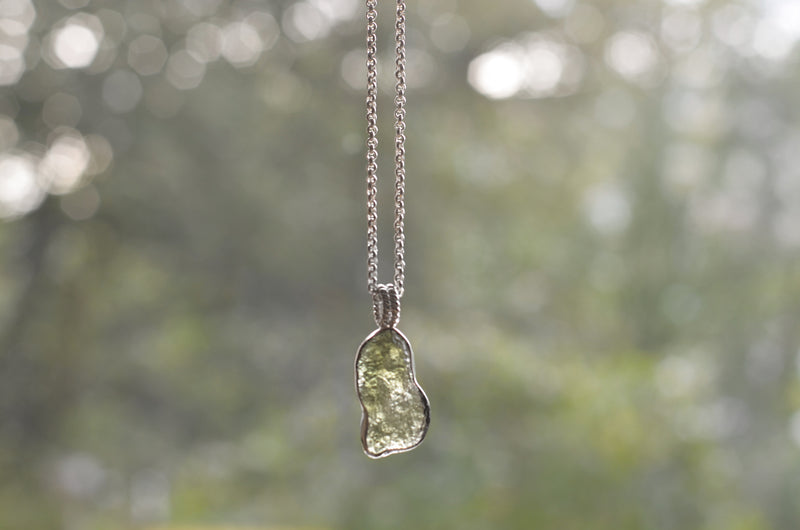 Big Raw Moldavite Sterling Silver Pendant Drop
