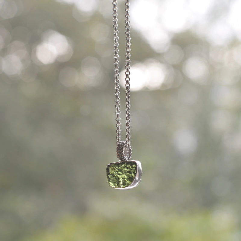Raw Moldavite Sterling Silver Pendant Anchor