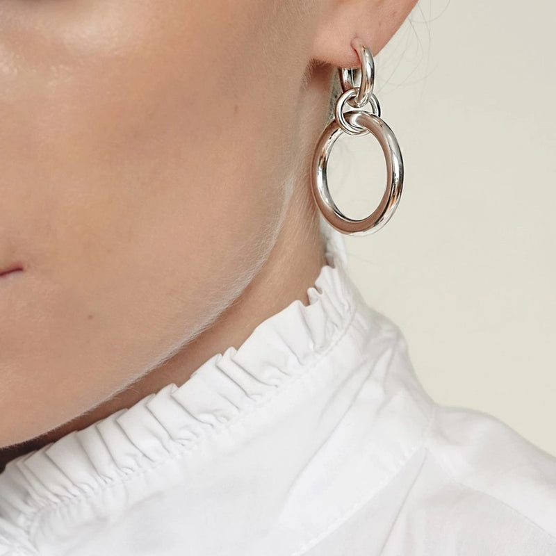 Lightweight hollow big Sterling Silver Hoop Earrings ioola // Silver