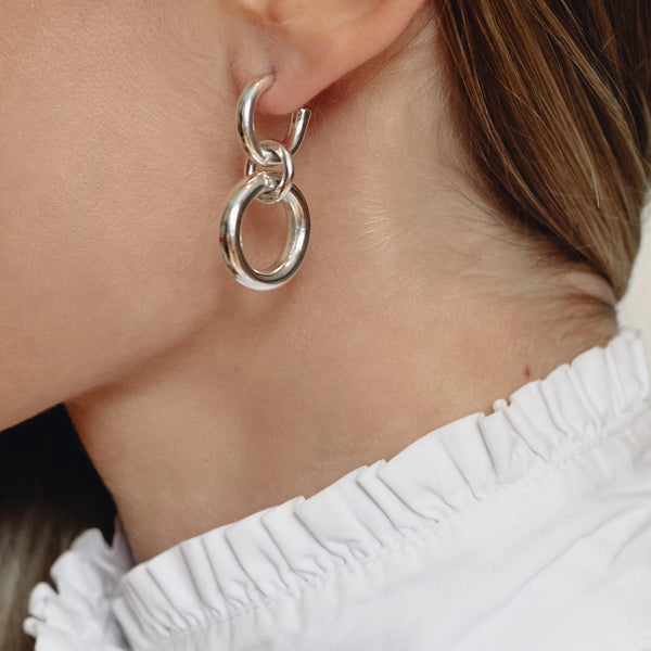 Lightweight Sterling Silver hollow double hoop earrings with dangle small // Silver
