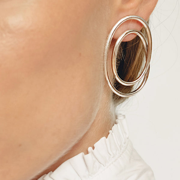 Statement earrings, gold plated silver earrings, Luxury sterling silver spiral earrings // Silver