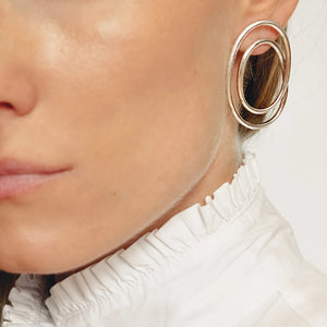 Statement earrings, gold plated silver earrings, Luxury sterling silver spiral earrings