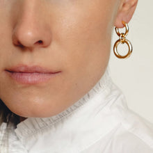 Load image into Gallery viewer, Lightweight Sterling Silver hollow double hoop earrings gold plated with dangle small