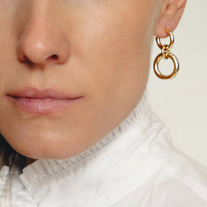 Lightweight Sterling Silver hollow double hoop earrings gold plated with dangle small