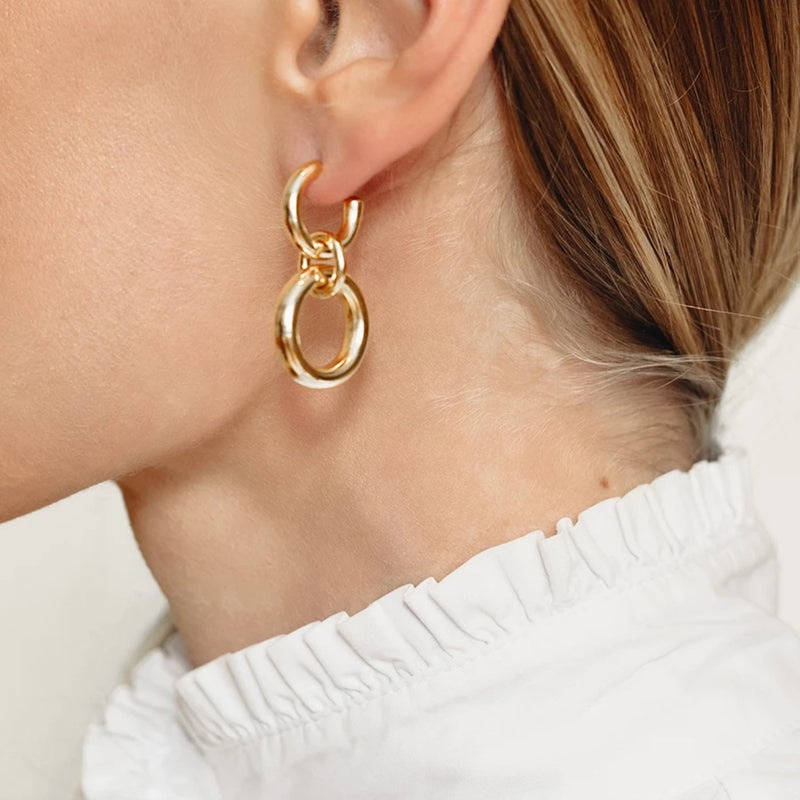 Lightweight Sterling Silver hollow double hoop earrings gold plated with dangle small // Gold