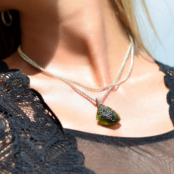 Large Raw Moldavite Pendant Triangle