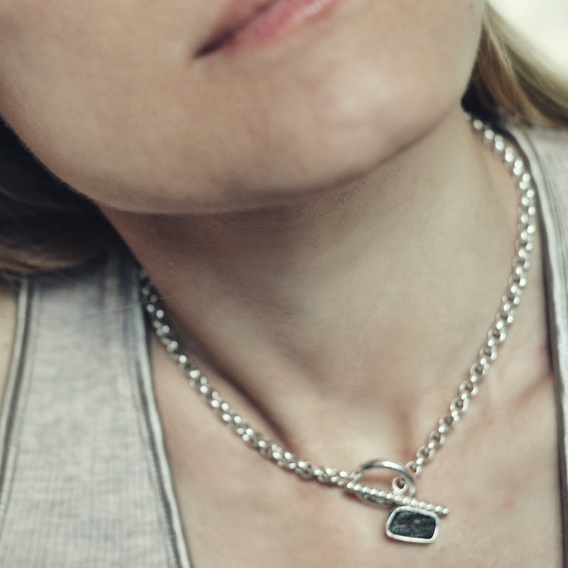 Sterling silver Raw moldavite rolo chain necklace ioola with toggle clasp