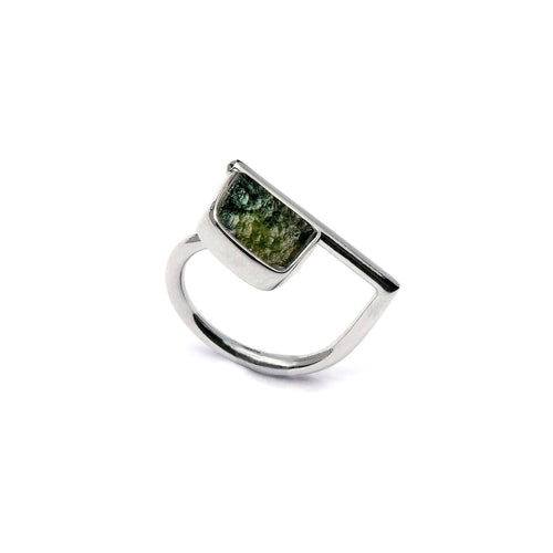 Adjustable Moldavite Ring