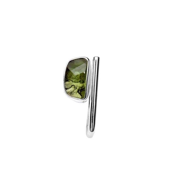 Adjustable Moldavite Ring Faceted