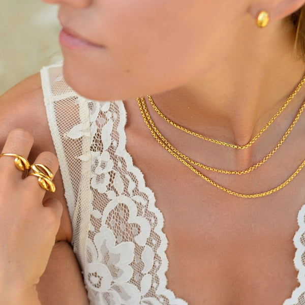 Silver gold plated necklace with toggle clasp ioola // Gold