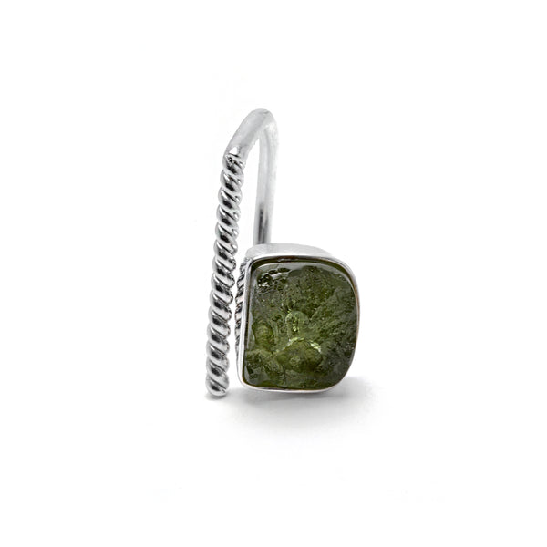 adjustable sterling silver moldavite ring size 7