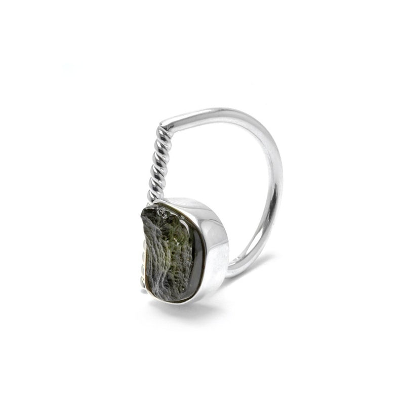 adjustable Moldavite ring size 5 1/2 twist