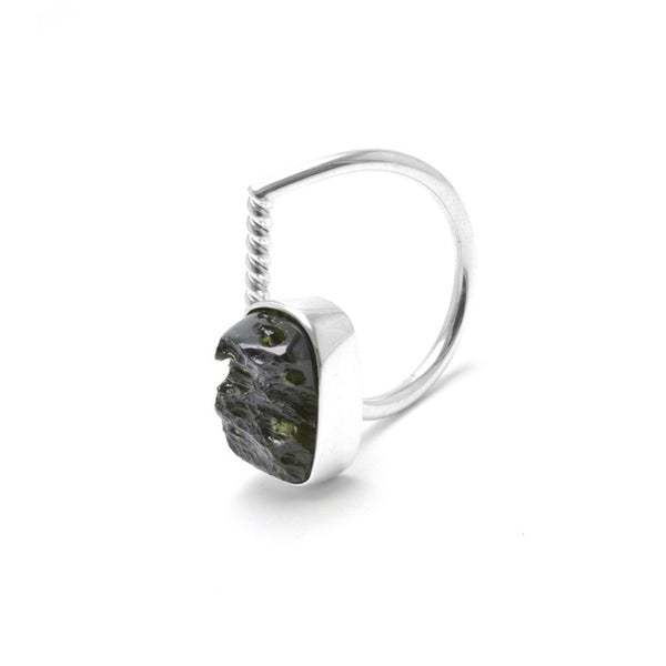adjustable Moldavite ring size 7 twist