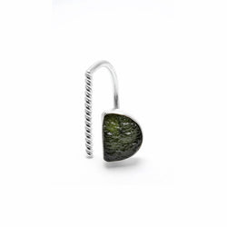 adjustable sterling silver moldavite ring size 7 1/2