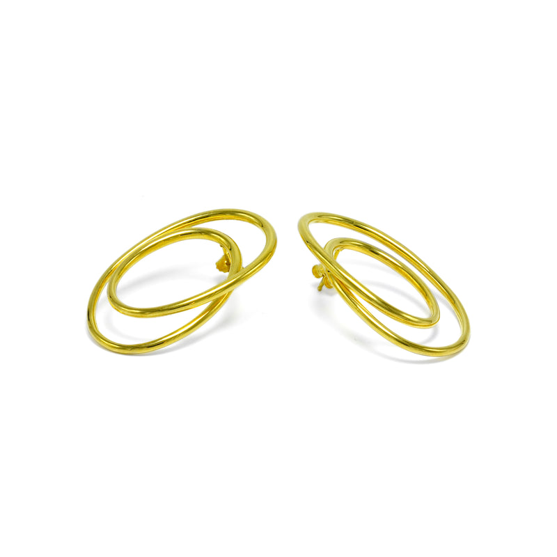 sterling silver gold plated statement earrings ioola // Gold