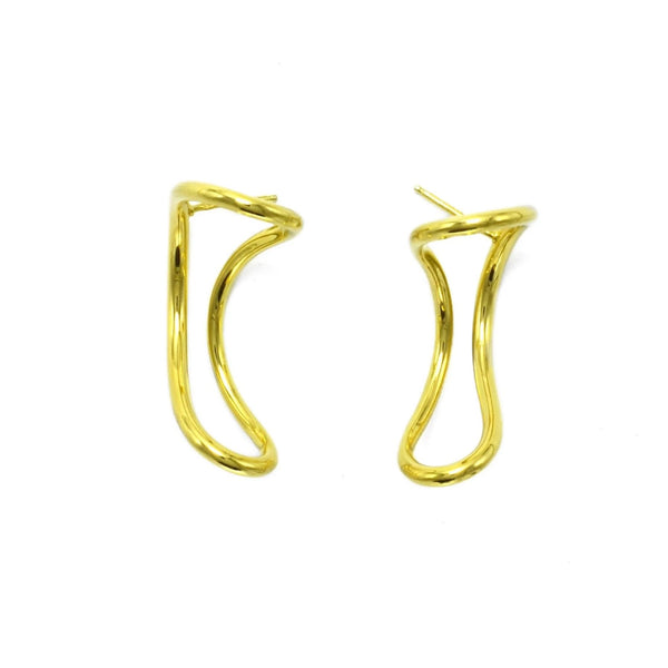 Statement luxury sterling silver wave earrings gold plated // Gold