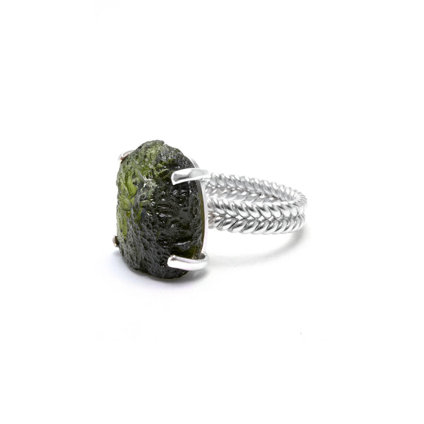 large moldavite ring size 7