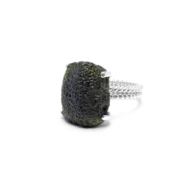 large moldavite ring size 8