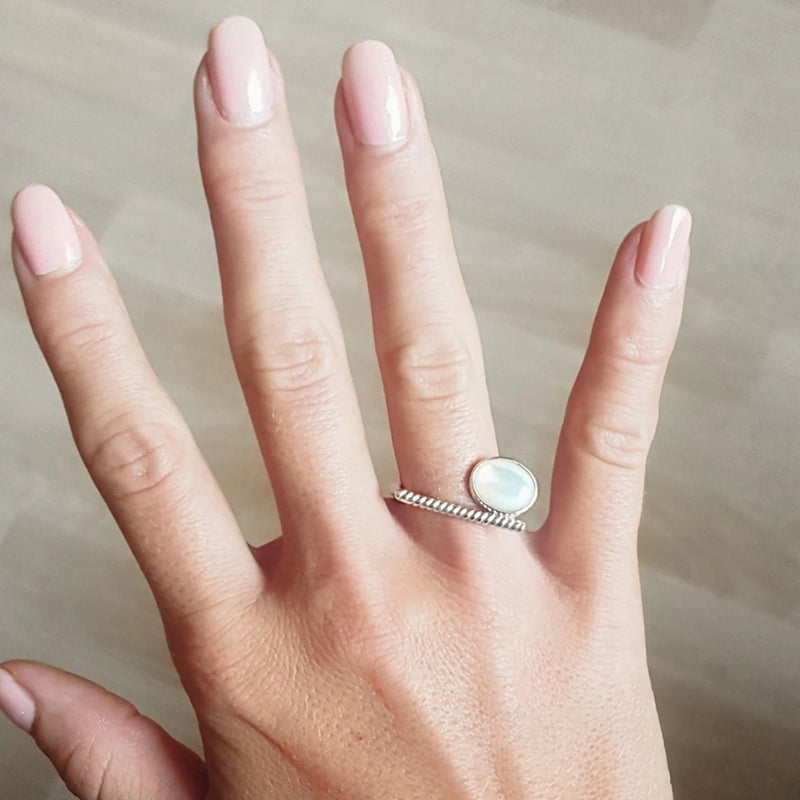 Adjustable Mother of Pearl Ring