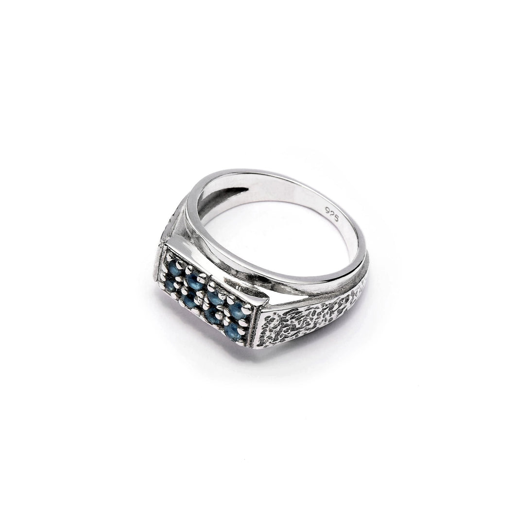 Sterling Silver Midnight Ring with Aquamarines