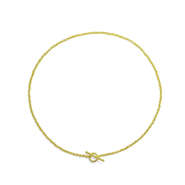 Handmade sterling silver gold plated rolo chain necklace with toggle clasp ioola // Gold