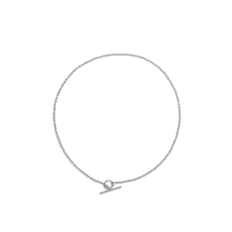 Handmade sterling silver rolo chain necklace with toggle clasp ioola // Silver