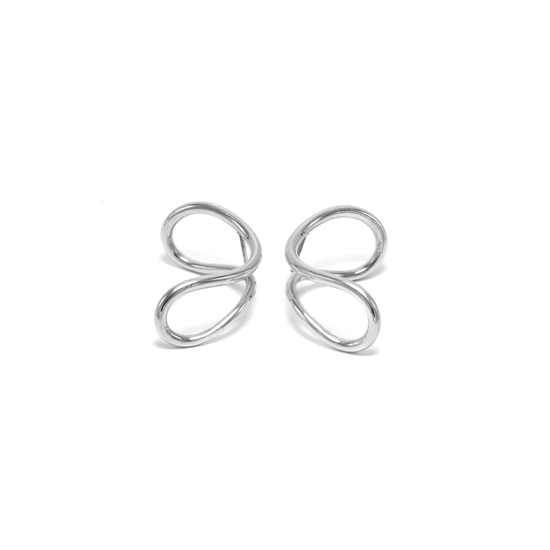 Statement luxury sterling silver wave earrings // Silver