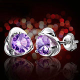Purple Crystal Heart Stud Earrings 3