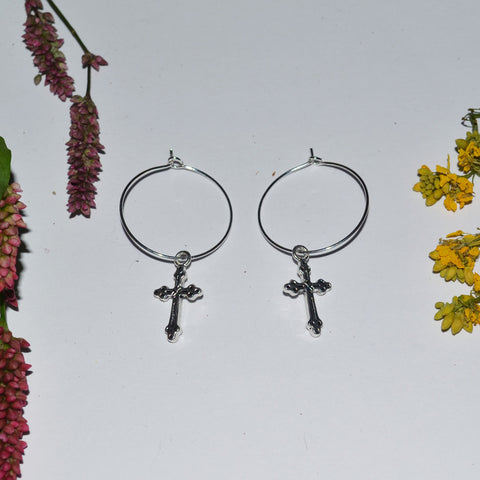 Crucifix Charm Hoop Earrings