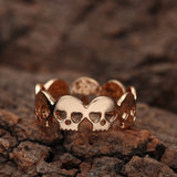 Band of skulls gothic gold ring 2