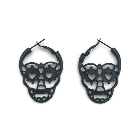 Gothic Skull Hoop Earrings black