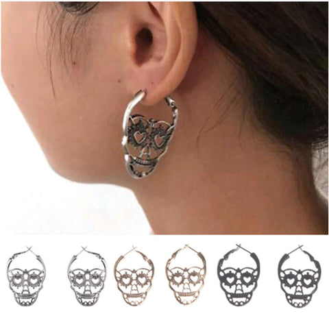 Gothic Skull Hoop Earrings