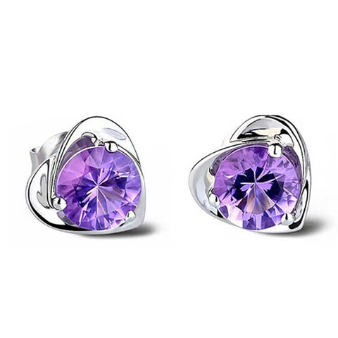 Purple Crystal Heart Stud Earrings 1